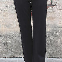 Eileen Fisher 208 L Black Ponte Straight Leg Long Pant Thicker Fabric Washable Photo