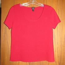 Eileen Fisher 278 Red Lacquer 100% Cashmere Scoop Neck Short Sleeve Sweater M Photo