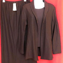 Eileen Fisher 3pc Set Womens Brown Wool Crepe Knit Shirt Skirt Cardigan Jacket M Photo