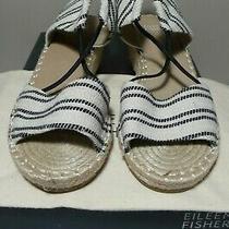 Eileen Fisher Agnes-Cn 190 Black/white Canvas Espadrille Wedges Sandal Sz 7.5 M Photo