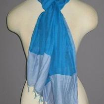 Eileen Fisher Atlantis Blue Handloomed Color Tipped Linen Gauze Scarf Nwt 98 Photo