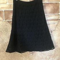 Eileen Fisher Black Crochet Lace Skirt Medium  Stretch Italian Yarn Size Xs Photo