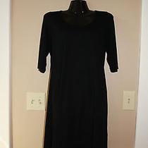 Eileen Fisher Black Rayon Knit Dress Size Medium Great Dress Photo