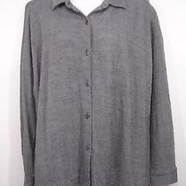 Eileen Fisher Blue Nubby Viscose Linen Shirt M Photo