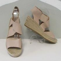 Eileen Fisher Blush Leather Espadrille Wedge Sandals Shoes 11 Photo
