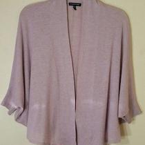 Eileen Fisher Bolero Pink Blush Tan Open Front Light Short Sleeve Sweater Sz M Photo