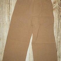 Eileen Fisher Brown 100% Linen Cropped Wide Leg Pants Size Xs Women Photo