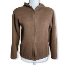 Eileen Fisher Brown Cotton Hooded Jacket Womens Sz 2/4 Petite (Pp) Photo
