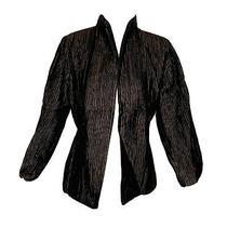 Eileen Fisher Crinkled Pleated Silk Jacket Dark Brown Size Xs Mandarin Collar Photo