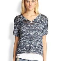 Eileen Fisher Denim Blue v Neck Brushtroke Tape Shaped Sweater Top L 248 Photo