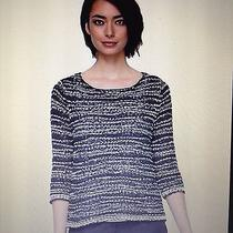 Eileen Fisher Graphite Nubbly Cotton Tape Wave Ballet Neck Box Top Sweater Small Photo