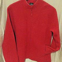 Eileen Fisher Jacket Felted Boiled Wool Cardigan Sweater Zip Raw Edge Salmon Szm Photo