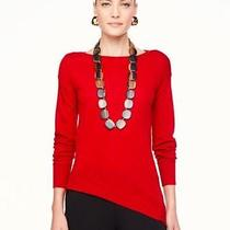 Eileen Fisher Lacquer Red Merino Bateau Neck Top Sweater Pl Nwt 258 Photo