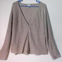 Eileen Fisher Light Brown Cable Knit Linen Cardigan Sweater - Large Photo