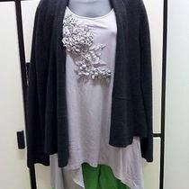 Eileen Fisher M Graphite Merino Wool Open Front Cardigan Photo
