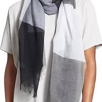 Eileen Fisher New Black Grey One Size Colorblock Raw Fringe Scarf 118 917 Photo