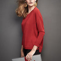 Eileen Fisher Nwt Lacquer Red Round Neck Merino Jersey Box Top -2x Photo