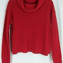 Eileen Fisher Ps Sweater Lacquer Red Funnel Neck Box Top Yak Merino Rib Nwt 298 Photo