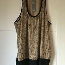 Eileen Fisher Pure Silk Black/gold Bead & Sequinned Vest Top/size L Photo