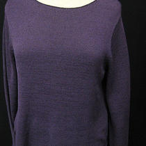 Eileen Fisher Purple Silk Tape Sweater Size Medium Photo