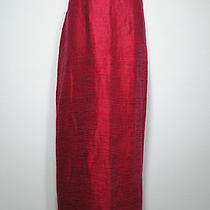 Eileen Fisher Red Linen Cotton Straight Long Full Length Maxi Skirt S Photo