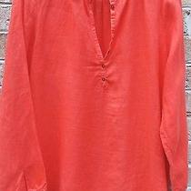 Eileen Fisher S Organic Linen Coral Orange Tunic Coverup Blouse Henley Eeuc Photo