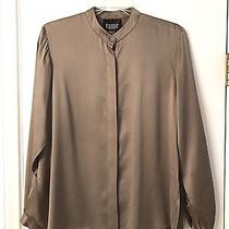Eileen Fisher S Taupe 100% Silk Long Sleeve Button Cuff Blouse Tunic Side Slits Photo