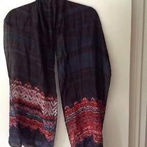 Eileen Fisher Scarf- Multi-Color Design on Graphite  15x75 Inches   Nwt 88.00 Photo