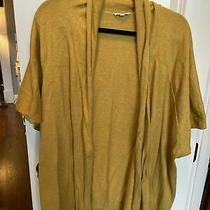 Eileen Fisher Short Sleeve Cotton Sweater Cardigan Mustard Gold 3x Photo