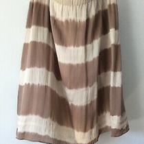 Eileen Fisher Silk Lantern Skirt Mocha Stripe Knee Length Sz L Euc Fisher Projec Photo