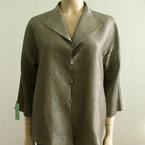 Eileen Fisher Silk Satin Swing Jacket 3/4 Sleeves Taupe M 5292c Tr Photo