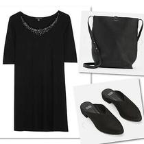 Eileen Fisher Silk Sequin Black Tunic Top Sz Xs Photo