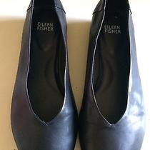 Eileen Fisher Size 7 Black Patch Leather Flats Vg Condition Photo