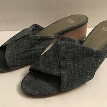Eileen Fisher Size 9 Blue Denim Chambray Slide Mules Block Heel Sandals Shoes Photo