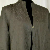 Eileen Fisher Size L Blazer Embroidered Leaves Gray 1 Button Jacket Usa Large Photo
