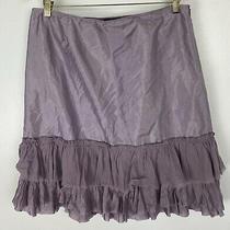 Eileen Fisher Size Small S 100% Silk Skirt Ruffles Purple  Photo