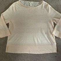 Eileen Fisher Size Xs Linen & Nylon 3/4 Sleeve Blush Peach Spring Sweater  Photo