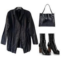 Eileen Fisher Steel Satin Crinkle Single Button Jacket Blazer Sz S 368 Photo