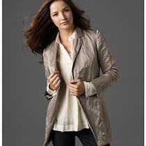 Eileen Fisher Steel Satin Stone Spring Metallic Crinkle Blazer Jacket 368 S Photo