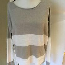 Eileen Fisher Striped Gray/white 100% Linen Sweater Long Slv S Oversized Tunic Photo