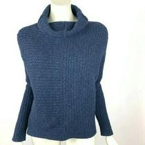 Eileen Fisher Sweater Cashmere Wool Navy Blue Long Sleeve Cowl Neck Women Xs Photo