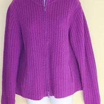 Eileen Fisher Sz L Thick Purple Wool Ribbed Knit Zip-Up Cardi Sweater Jacket Photo