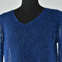 Eileen Fisher Sz Xs Blue Asymmetrical Knit See Through Sweater Vneck Top Stretch Photo