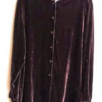 Eileen Fisher Thred Up Dark Brown Velvet Tunic Top Jacket Sz Xl Photo