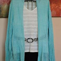 Eileen Fisher Turquoise Lightweight Linen Knit Cardigan Sweater Xl E729-10 Photo