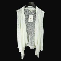 Eileen Fisher White 100% Linen Open-Knit Cascading Open Cardigan Sweater Vest L Photo