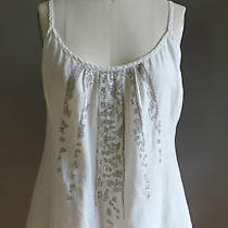 Eileen Fisher White Organic Linen Sequin Spaghetti Strap Loose Cut Top Blouse Xs Photo