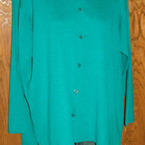 Eileen Fisher Woman Deep Aqua Twinset Cardigan & Tank Sweater Plus Size 2x Euc  Photo