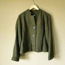 Eileen Fisher Womens Size Xs Wool Blend Forest Green Button Up Blazer Jacket Photo