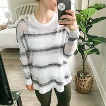 Eileen Fisher Womens 100% Linen Knit Sweater Pullover White and Gray Size Medium Photo
